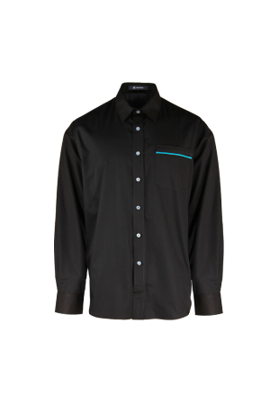 Men's Long Sleeve Shirt with Turquoise Piping